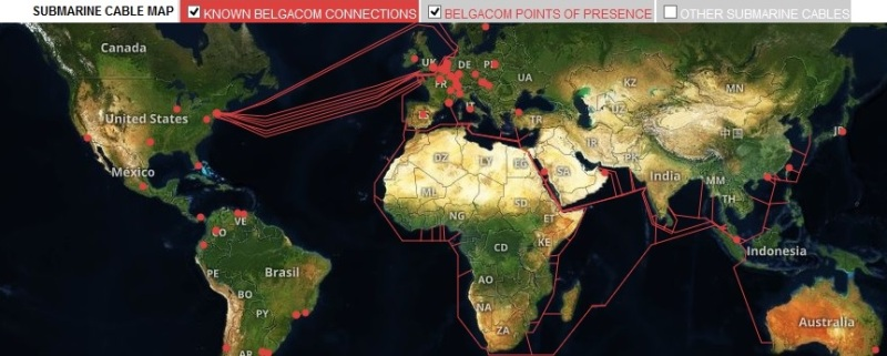 Mappa cavi Belgacom (fonte: The Intercept)