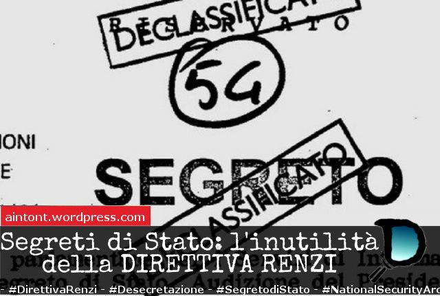 """Direttiva Renzi sul Segreto di Stato: la rottamazione degli archivi """"inutili"""""""